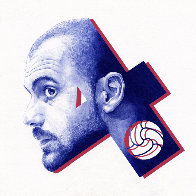 Pep Guardiola Barcelona coach drawn with ballpoint pen by Chamo San