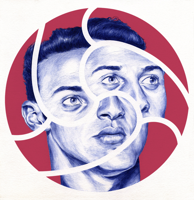Thiago Alcantara Barcelona player drawn with ballpoint pen by Chamo San