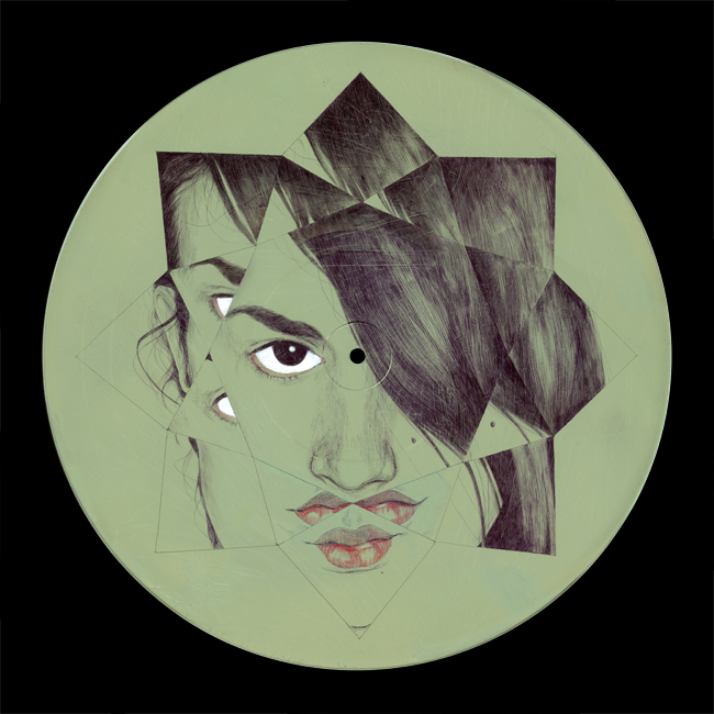 Vinilucy, Ballpoint acrylic and ink on vinyl by Chamo San