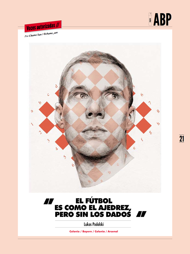 Lukas Podolski portrait by Chamo San for Panenka