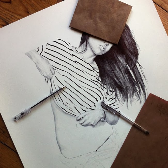 Chamo San illustration drawing girl stripes