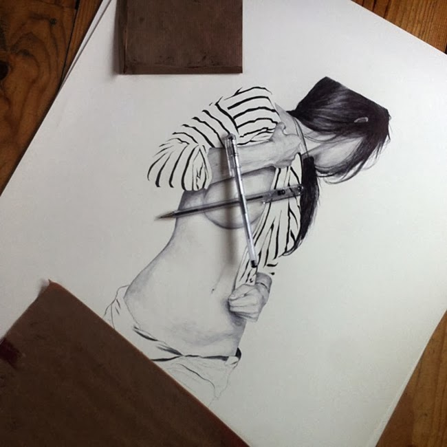 Chamo San illustration drawing girl stripes